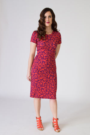 Bodycon Dress - Pasto Print Purple and Red