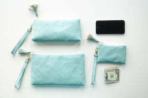 Wristlet Travel Purse - Turquoise Cork