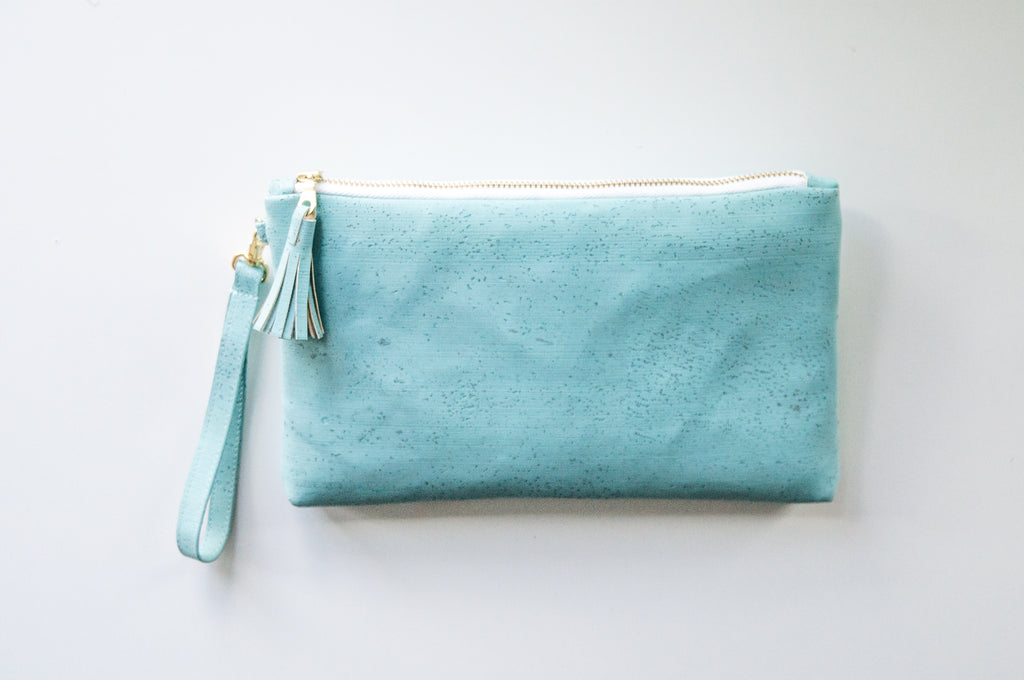 Wristlet Clutch Purse - Turquoise Cork