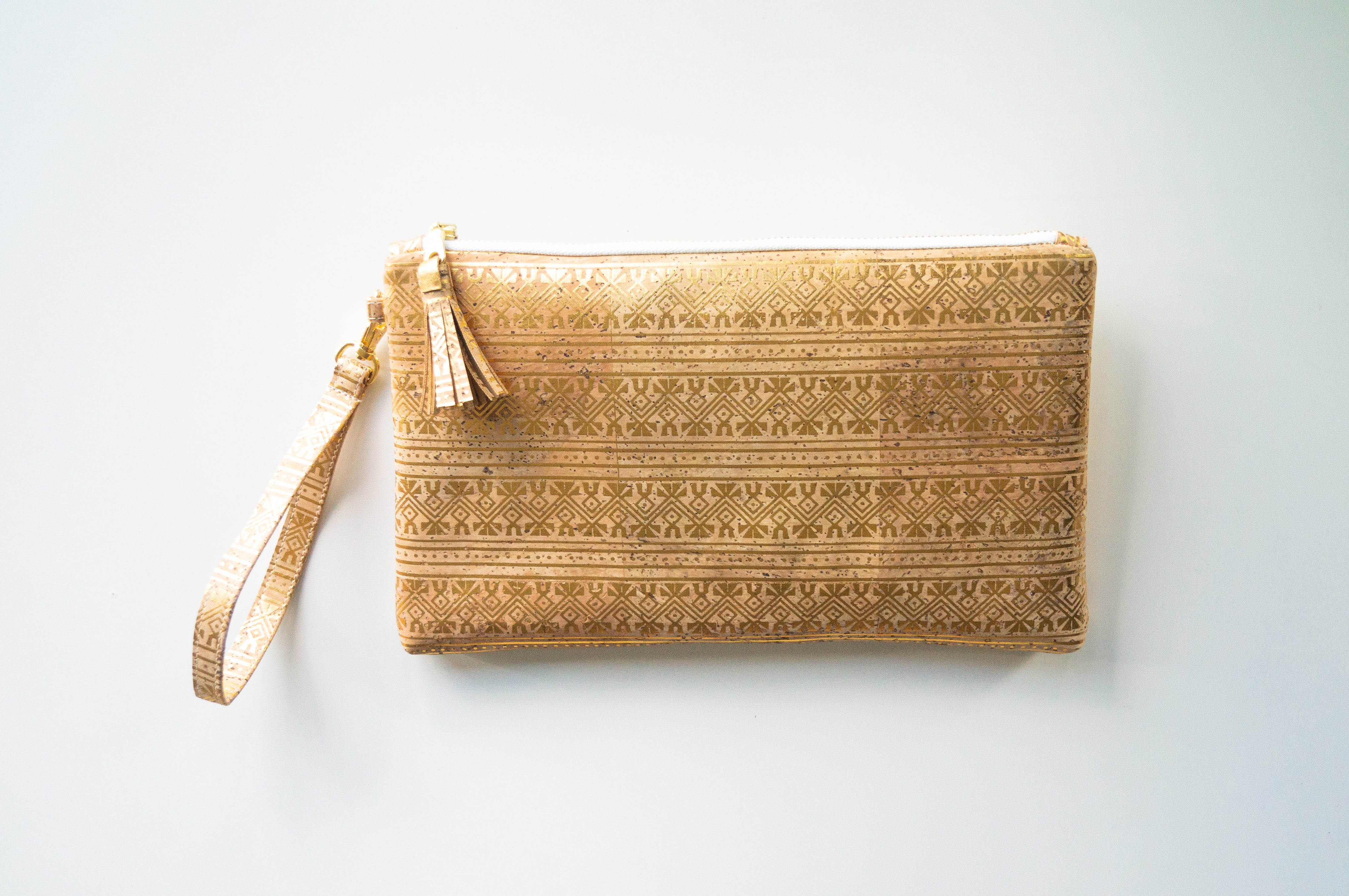 Wristlet Clutch Purse - Natural Cork with Gold Print