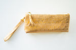 Wristlet Travel Purse - Natural Cork with Gold Print
