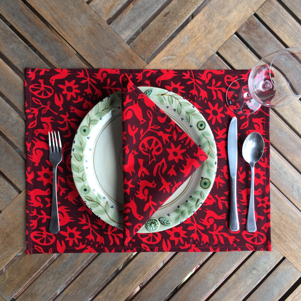 Set of Four Placemats - Pasto Print Red