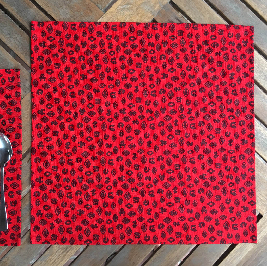 Set of Four Cotton Napkins - Fauna de la Costa Print Red