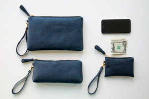 Wristlet Clutch Purse - Navy Cork