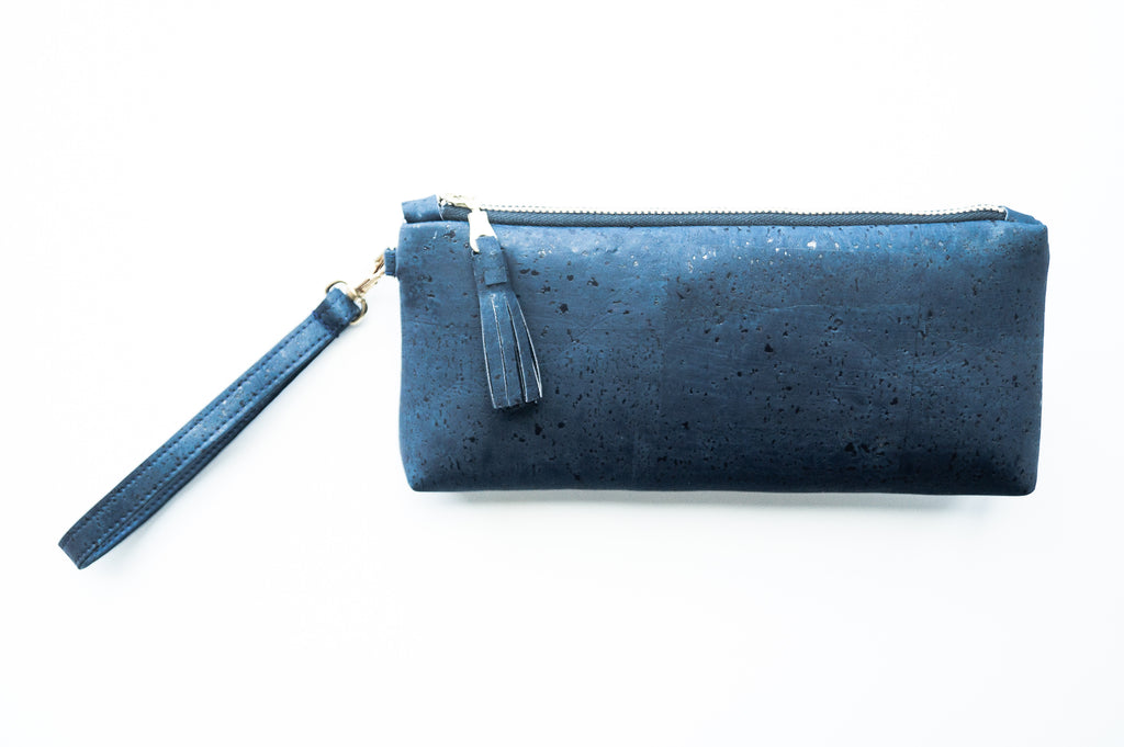 Wristlet Travel Purse - Navy Cork