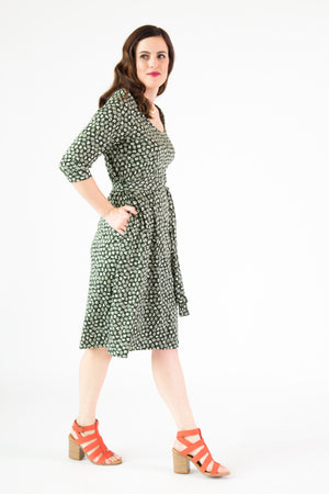 Belted Tunic Dress - Fauna de la Costa Print Forest Green