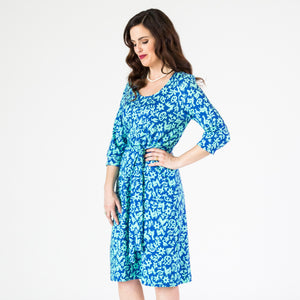 Belted Tunic Dress - Pasto Print Blue and Light Green