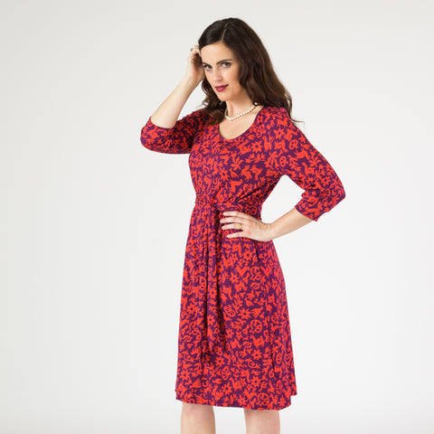 Belted Tunic Dress - Pasto Print Purple and Red