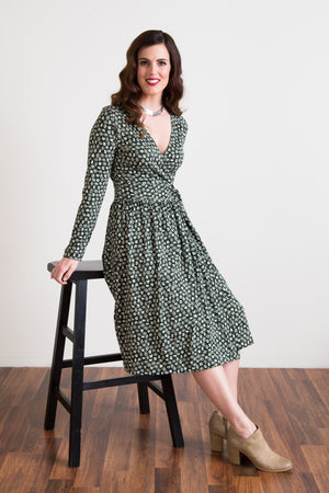 Wrap Dress - Fauna de la Costa Print Forest Green