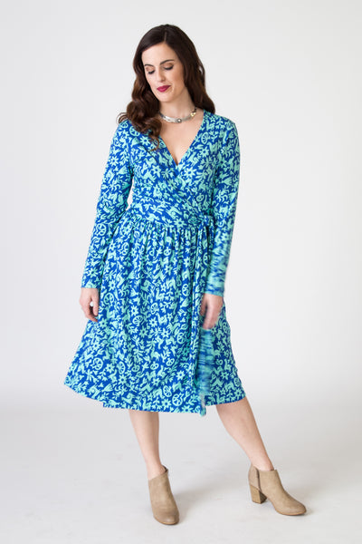 Wrap Dress - Pasto Print Blue and Light Green