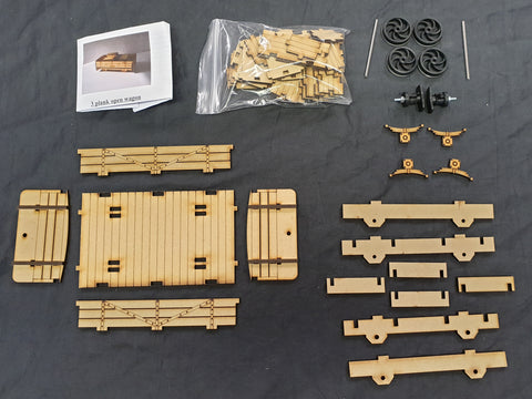 16mm 3 Plank wagon & 4 Crate Load Kit