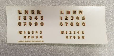 Tenmille gauge 1 LNER Locomotive transfers (price per sheet)