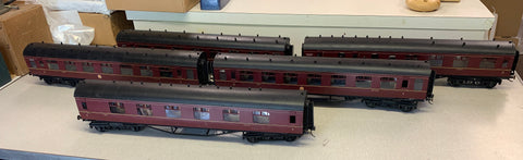 5 x Gauge 1 - 10mm scale LMS coaches