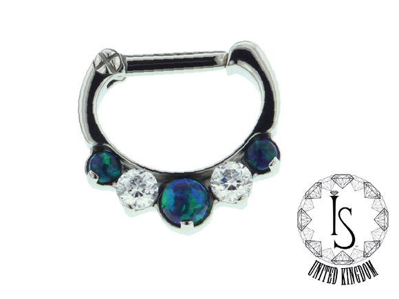 IS Odyssey Septum Clicker #6, faceted gems