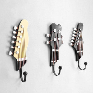 3pcs/set Multi-purpose Retro Style Guitar Heads Home Hooks Resin-made Clothes Hat Hangers Durable Wall-mounted Bag Purse Holder guitarmetrics