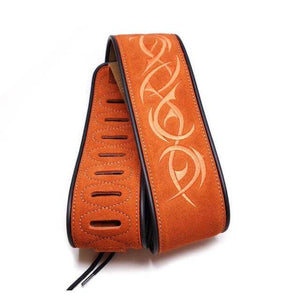Custom leather guitar strap guitarmetrics stripe