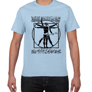 Da Vinci Vitruvian Man Funny guitar t shirt guitarmetrics B554MT light blue S