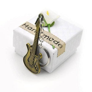 Electric guitar keychain guitarmetrics Retro Gold