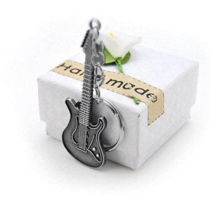 Electric guitar keychain guitarmetrics Retro Silver