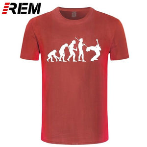 Evolution Of a Guitarist | Rock T shirt guitarmetrics red white XS