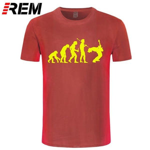 Evolution Of a Guitarist | Rock T shirt guitarmetrics red yellow XS