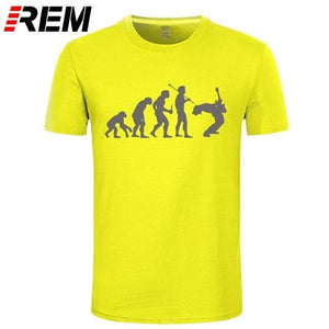 Evolution Of a Guitarist | Rock T shirt guitarmetrics yellow gray XS