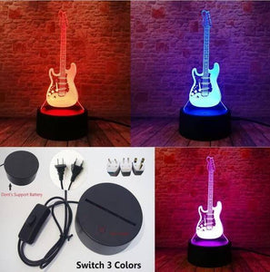 Guitar 3D illusion lamp guitarmetrics Switch Plug 3 Color 1 Free Premium shipping