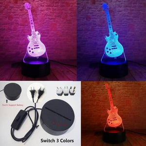 Guitar 3D illusion lamp guitarmetrics Switch Plug 3 Color Free Premium shipping