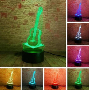 Guitar 3D illusion lamp guitarmetrics Touch 7 Color Free Premium shipping