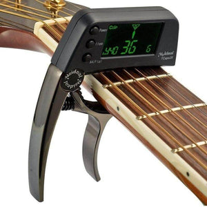 Guitar capo with built in tuner Meideal™ guitarmetrics Coffee