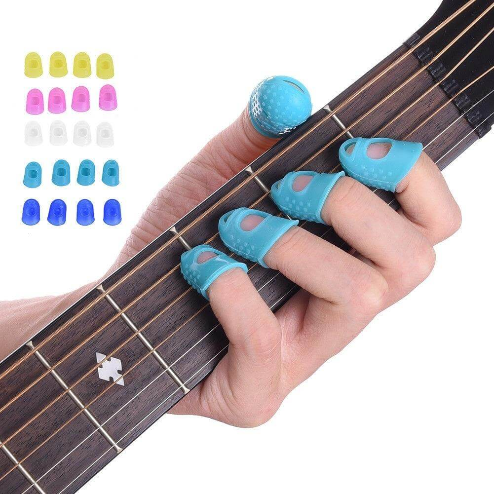 Size : XS 4Pcs Guitar Fingertip Protector Silicone Protector Finger Guards Anti-Skid Finger Cover for Stringed Instruments Thumb Bass Finger Pick