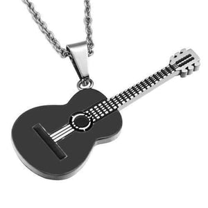 Guitar pendant necklace guitarmetrics black