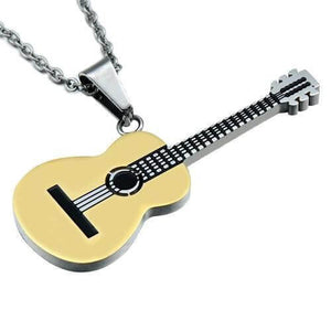 Guitar pendant necklace guitarmetrics gold