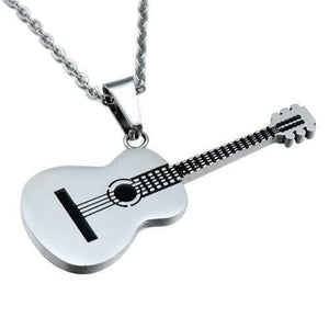 Guitar pendant necklace guitarmetrics silver