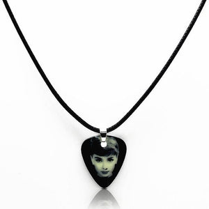 Guitar pick necklace with free shipping guitarmetrics Audrey Hepburn