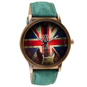 Guitar themed watches guitarmetrics Green strap