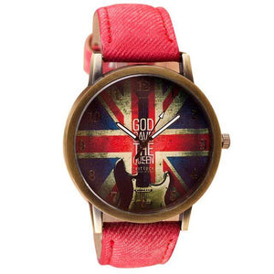 Guitar themed watches guitarmetrics Red strap