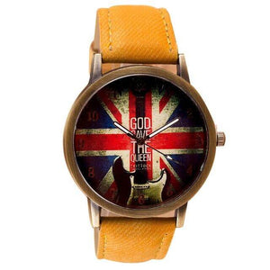 Guitar themed watches guitarmetrics yellow strap