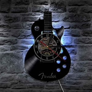 Guitar wall clock (Vinyl record material) guitarmetrics With LED