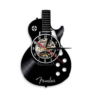 Guitar wall clock (Vinyl record material) guitarmetrics Without LED