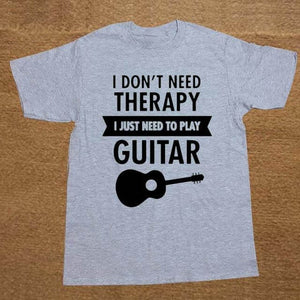 I Don't Need Therapy- Guitar print Tshirt guitarmetrics gray 2 XS
