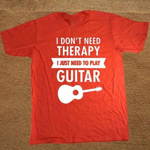 I Don't Need Therapy- Guitar print Tshirt guitarmetrics red XS
