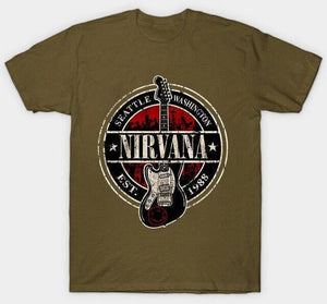 Nirvana t shirt limited edition guitarmetrics Army Green XL