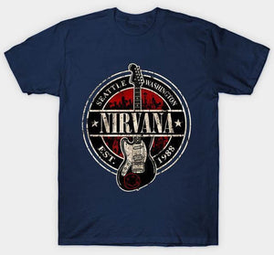 Nirvana t shirt limited edition guitarmetrics Navy Blue M