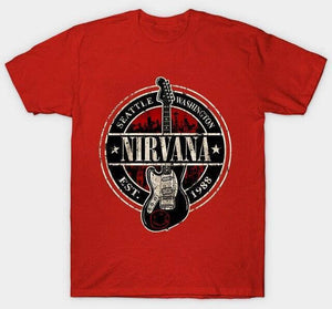 Nirvana t shirt limited edition guitarmetrics Red XL