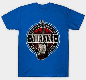 Nirvana t shirt limited edition guitarmetrics Royal Blue M