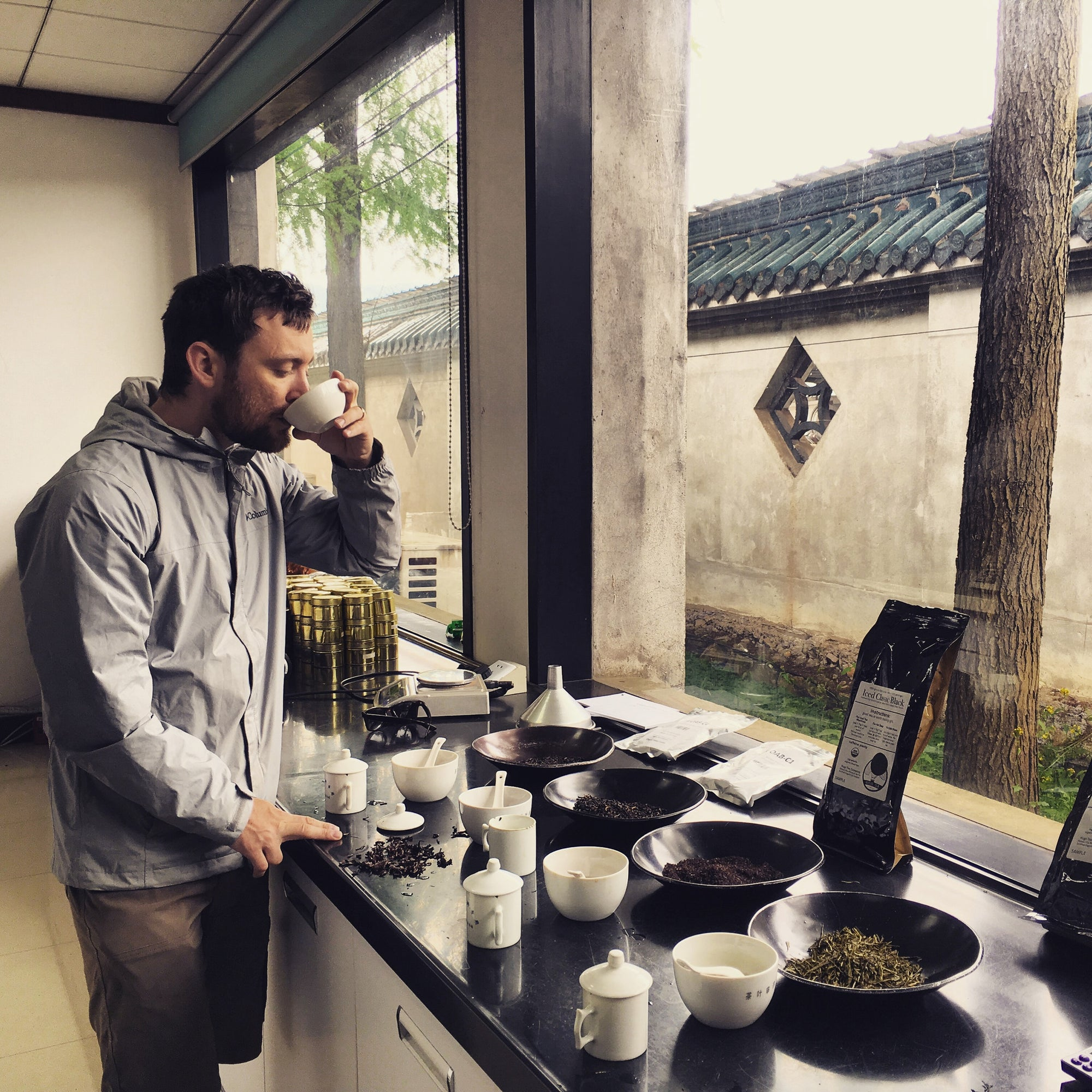 Tea cupping with a friend