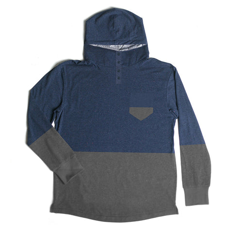 Century Hooded Henley // Navy/Charcoal