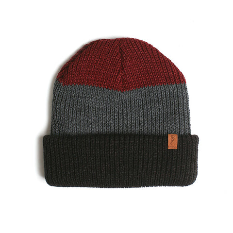 Cedar Beanie // Burgundy Charcoal Black