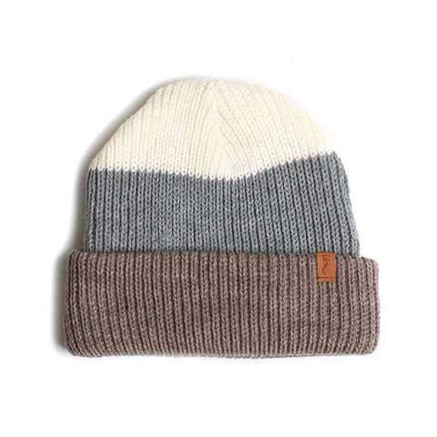 Cedar Beanie // White Grey Brown